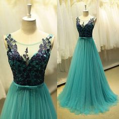 Blue Prom Dresses, Prom Dress,Modest Prom Gown,Tulle Prom Gown,Blue Evening Dress,Lace Evening Gowns,Black Lace Party Gowns MT20186938