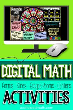 Digital math activities for middle and high school math perfect for distance learning and classrooms with technology. Google Forms, drag and drop Google Slides, math escape rooms, digital word walls, digital math centers, all ready to use on student devices. Middle School, High School, Digital Word, Word Walls, 7th Grade Math, Math Classroom, Math Centers, Algebra, Teaching Math
