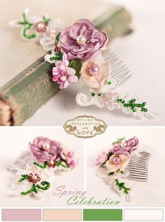 Lace Bridal Hair Comb Floral Spring Wedding Head by STILLforSTYLE