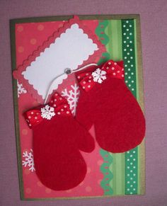 Carte de voeux faite main : Les Gants du Père Noël : Cartes par marzanne
