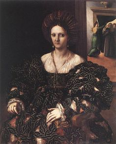 This portrait by Giulio Romano depicts a fashionable noblewoman in a magnificent black dress. She is probably Isabella d'Este's daughter-in-law, Margherita Paleologo at the time of her marriage to Federico Gonzaga, Duke of Mantua, in Portrait Renaissance, Renaissance Mode, Renaissance Paintings, Renaissance Fashion, Renaissance Clothing, Italian Renaissance Dress, 1500s Fashion, Italian Outfits, Italian Fashion