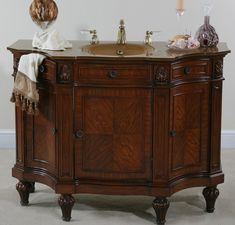 Bathroom: Elegant Bathroom Vanity With Dark Frame Mirrors And Wooden Cabinets On Stripes Grey Wall Plus Rug: Vintage Bathroom Vanities, Bathroom Vanity Cabinets, Vintage Vanity, Antique Vanity, Bathroom Sinks, Vanity Sink, Furniture Vanity, Bathroom Furniture, Cabinet Furniture