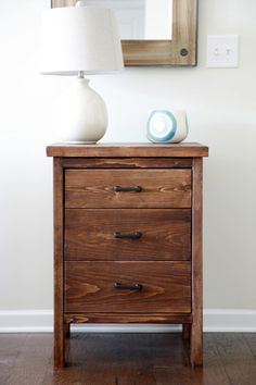 This plan makes a chest of drawers from 2 by 4s and 2 by 6s for the top.  The cabinet is 22 ½ inches at the widest point, 22 inches deep and 31 inches high.