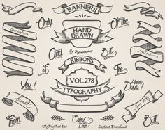 """Hand Drawn banners clipart: Digital clip art """"Hand Drawn Banners"""" This different digital hand drawn elements set contains 30 hand drawn banners, ribbons, words - v. You Draw, How To Draw Hands, How To Draw Ribbon, Ribbon Clipart, Tattoo Banner, Black Banner, Banner Drawing, Ribbon Banner, Clip Art"""