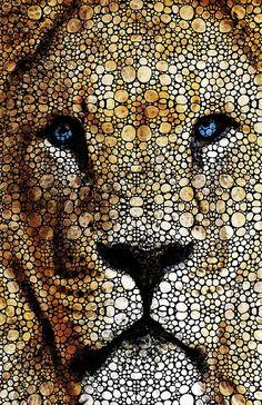 #acrylic #Lions #paintings- 'Awakening - Zen Landscape Art' by Sharon Cummings