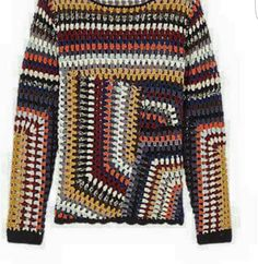 Buy East Hand Crochet Jumper, Multi from our Women's Knitwear range at John Lewis & Partners. Crochet Bolero, Crochet Jacket, Freeform Crochet, Crochet Cardigan, Crochet Granny, Hand Crochet, Crochet Top, Crochet Jumpers, Tapestry Crochet