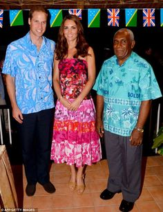 Distinguished guests: The Duke and Duchess pose for a photo with their host, Governor-General Frank Kabui
