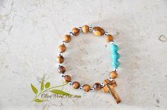Terre Sainte Croix en bois d'Olivier bois bracelet chapelet mini perles argent et naturel d'Olivier