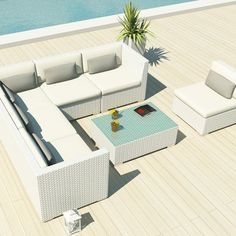 Amazon.com : Uduka Outdoor Sectional Patio Furniture White Wicker Sofa Set Luxor Off White All Weather Couch : Outdoor And Patio Furniture Sets : Patio, Lawn & Garden