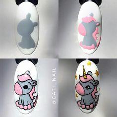 Cartoon Nail Designs, Nail Art Designs Videos, Cute Nail Art Designs, Unicorn Nails Designs, Unicorn Nail Art, Cute Acrylic Nails, Cute Nails, Fancy Nail Art, Fancy Nails