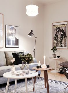 rustic modern interior with cozy winter lighting // living rooms