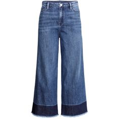 H&M Wide jeans (€32) ❤ liked on Polyvore featuring jeans, pants, jeans/pants, wide leg jean, denim blue, high rise straight leg jeans, wide leg blue jeans, h&m jeans, 5 pocket jeans and wide leg jeans