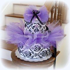 Tutu Diaper Cake Baby Shower Centerpiece Lavender Girl Nursery Easter Dress Newborn Infant Princess Tiara Spring Purple And Black Damask. $65.00, via Etsy.