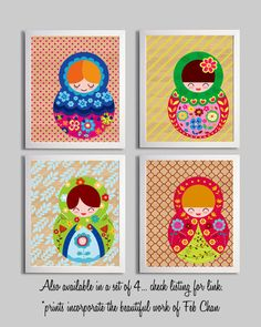 Nursery Girl Art Print Matryoshka Russian Doll Illustration 11x14. $22.00, via Etsy.