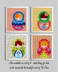 Nursery Girl Art Print Matryoshka Russian Doll Illustration 11x14. $22.00, via Etsy.