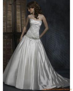 Neue schulterfreie Brautmode 2013 aus Taft Scoopausschnitt Verziertes Korsett und Ballrock