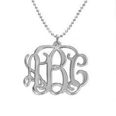 Monogramm Silberkette mit Initialen   MeineNamenskette