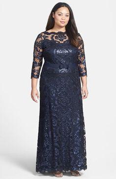 1920s Style Plus Size Downton Abbey Dress- Plus Size Women's Tadashi Shoji Belted Sequin Lace Gown