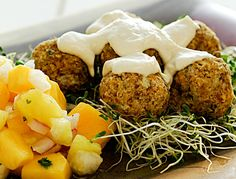 Falafels:    3 C Sprouted Garbanzo Beans (chick peas)  1 C Chopped Onion  2 Cloves Garlic  1 C Sunflower Seeds  1/2 C Ground Flax Seeds  1/4 C Lemon Juice  1/4 C Parsley  2 T Olive Oil  2 t Coriander  3 t Cumin  1 T Nama Shoyu  Alfalfa sprouts (for serving)