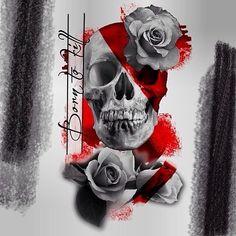 Tattoo Vera Sahar - tattoo's photo In the style Trash polka, Skulls, Ma Trash Polka Design, Trash Polka Art, Arrow Tattoos For Women, Dragon Tattoos For Men, Tattoo Trash, Trash Polka Tattoo, Neo Tattoo, Sternum Tattoo, Skull Girl Tattoo