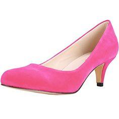 Zbeibei Women's Round-Toe Slender Faux Velvet Leather Mid Heels Work Court Pumps(3321VE37rose) - http://all-shoes-online.com/zbeibei/6-5-b-m-us-zbeibei-womens-round-toe-slender-leather-63