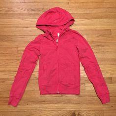 Lululemon pink zip up hoodie sweatshirt - sz 2 Lululemon pink zip up hoodie sweatshirt - sz 2. Armpit to armpit - 15.5 inches. Length - 21.5 inches. Shows some wear, would rate 6/10. lululemon athletica Tops Sweatshirts & Hoodies