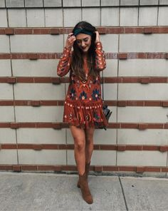 free people dress bohemian fall outfit