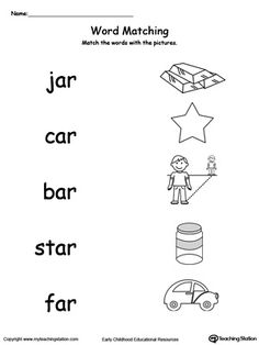 Connect Rhyming Pictures With Words Ending In AG, AR, ED