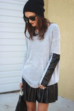 Soft Sweater with leather skater skirt and and knit hat- cute!