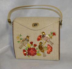 Vintage 70s Wood Canvas Novelty Box Purse. by FlanneryCrane