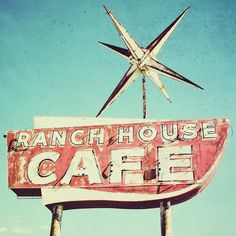Route 66 road house photo - 8x8 american roadhouse retro photo BOGO SALE. Even though this sign is not in Lubbock,we have our own here. For years it has been open downtown.