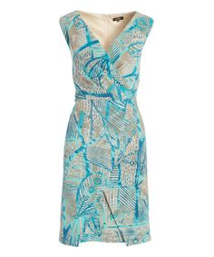 Turquoise & Beige Abstract Surplice Dress - Plus Too