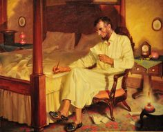 painting with Abraham Lincoln writing drafts of Emancipation Proclamation at the Lincoln Cottage Abraham Lincoln Family, Lincoln Life, Mary Todd Lincoln, American Revolutionary War, American Civil War, Civil War Art, Presidential History, Civil War Photos, American Presidents