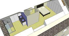 Aménagement de combles en chambre parentale réalisé avec SketchUp Stage, Bathroom, Architecture, Atelier, Attic Spaces, Master Bedrooms, Washroom, Arquitetura, Bathrooms