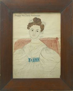 Portraits - Antique American Folk Art Watercolor Portrait of Lady in White by Emily Eastman - Peggy McClard Antiques - Americana & Folk Art
