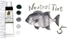 TURNER Artists' Water Colour, Art Paints Colour Name : Neutral Tint Code : 5 /A Light Fastness : Excellent Transparency:C (Opaque) Capacity : 15 ml  #painting #artists #water #colour #Neutral #tint #grey #sample