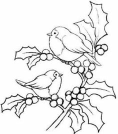pergamano - Page 2 Magenta Cling Stamp - Christmas Holly Birds Bird Embroidery, Christmas Embroidery, Embroidery Designs, Colouring Pages, Adult Coloring Pages, Coloring Books, Christmas Colors, Christmas Art, Xmas