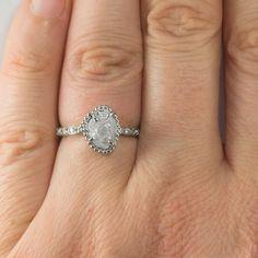 2.04 Carat Uncut Diamond Engagement Ring, Frances Setting