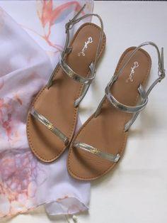 Silver metallic strappy Sandals | Sassy Shortcake Boutique | sassyshortcake.com