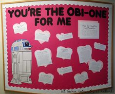 """My February bulletin board! Star Wars themed """"You're the Obi-one for Me."""" Tips for Healthy Relationships #ra #ca #bulletinboard #februarybulletinboard #rabulletinboard #starwars #r2d2 #starwarsbulletinboard #februaryrabulletinboard #residentadvisor #communityassistant #reslife #crafty #valentinesday #valentine #hearts #healthyrelationships"""