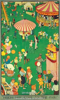Children at a Country Fair, illustration by Nina K. Brisley. Print. London, UK, 1932.