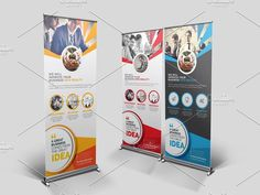 Corporate Roll Up Banner Templates **Business Roll-Up Banner Design** is very easy to use and change text,color,size,look and everythin by Cristal Pioneer Pull Up Banner Design, Roll Up Design, Business Brochure, Business Card Logo, Banner Template, Flyer Template, Tradeshow Banner Design, Find Fonts, Creative Sketches