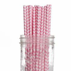 Purchased Straws - Pink paper straws