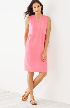 petite linen Empire-waist dress | J.Jill