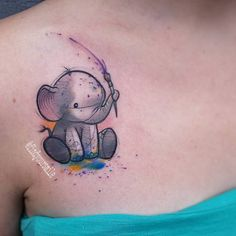 This cute lil peanut playing with finger paintssss! #watercolor #watercolortattoo #watercolour #watercolourtattoo #watercolortattoos #watercolourtattoos #tattoo #colortattoo #abstract #abstracttattoo #sketchtattoo #sketchytattoo #elephant #elephanttattoo