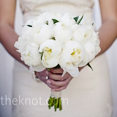 White peony bridal bouquet // Photographer: Meg Perotti // Bouquet: JL Designs // http://www.theknot.com/weddings/album/a-beach-wedding-in-newport-beach-ca-86077
