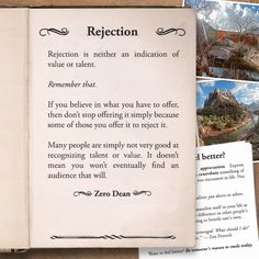 Excerpt from: Rejection is neither an indication of value or talent  #zerosophy