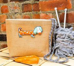 DOG KNITTING BAG Large Jute Hessian Burlap by KnittingBagAndCase