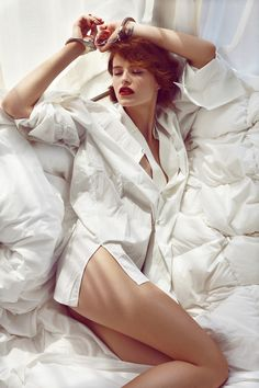 Barbora in Bed – Branislav Simoncik captures Barbora Holotova wearing seductive, bedroom inspired looks for the August cover story of Maxima Portugal. Fearless Photography, Photography Women, Fashion Photography, White Editorial, Editorial Fashion, Boudoir Pics, Portrait Poses, Portraits, Photoshoot Inspiration