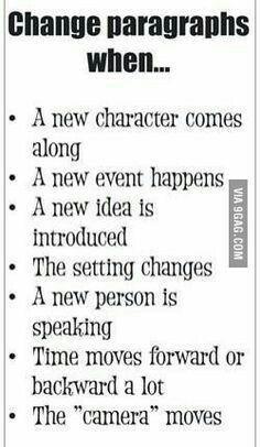 writing tips--change paragraphs when Writing Images, Book Writing Tips, Paragraph Writing, Writing Quotes, Teaching Writing, Writing Help, Writing Skills, Writing Humor, Writing Software